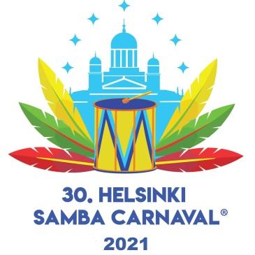 Helsinki Samba Carnaval 30 vuotis logo, jossa rumpu, sulkia ja tuomiokirkko